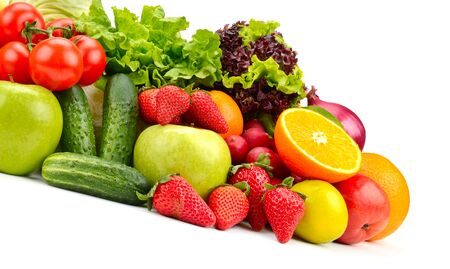 Isolated fresh fruits and vegetables on white Banque d'images