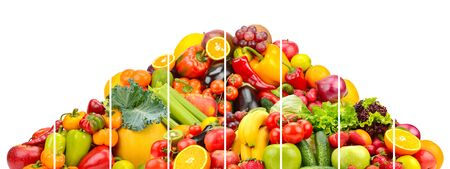Pyramid colorful fresh vegetables and fruits divided vertical lines isolated on white background Imagens