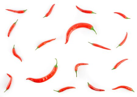 Set red chili pepper isolate on white background Banque d'images