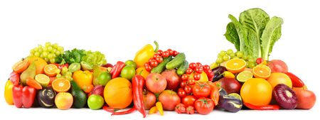 Panorama of fresh vegetables and fruits isolated on white background. Side view.