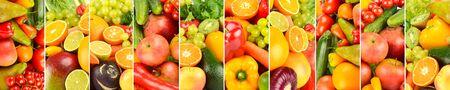 Wide background of fresh vegetables, fruits, berries, separated by vertical lines. Reklamní fotografie