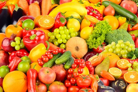 Great background made of vegetables and fruits. Food concept. Top view Archivio Fotografico