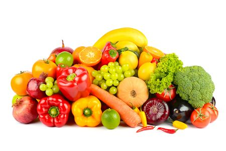 Big collection delicious wholesome fruits and vegetables isolated on white background.