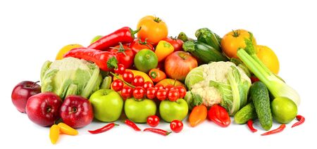 Set of fresh and healthy vegetables and fruits isolated on white background. Stock Photo