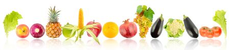 Fresh bright fruits and vegetables with light reflection isolated on white background.