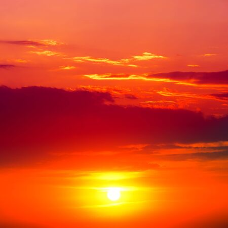 Red sunset in the sky Stock Photo