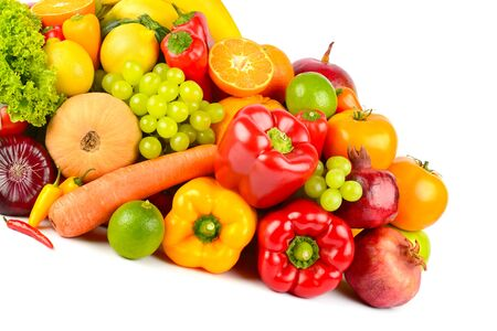 Big collection delicious fruits and vegetables isolated on white background.