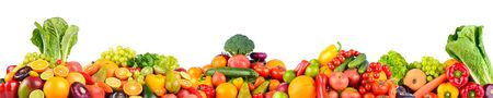 Panoramic collage of fresh vegetables and fruits isolated on white background