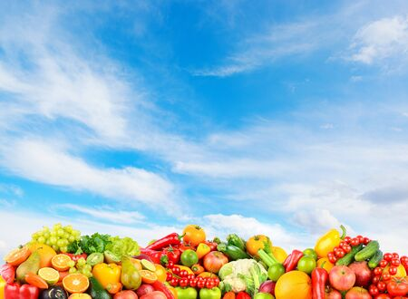Panoramic photo fruits and vegetables on background blue clear sky.