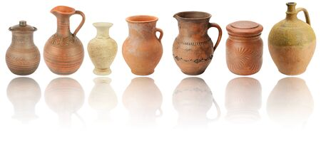 Set ceramic jugs and vases with light reflection isolated on white background Stock Photo