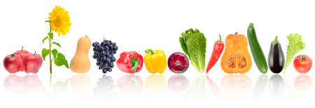 Bright ripe vegetables and fruits with reflection isolated on white background. Stock Photo