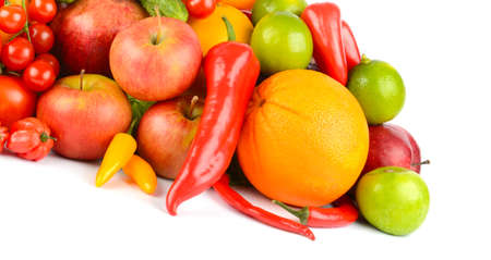 Healthy fruits and vegetables isolated on white background