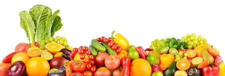 Panorama of fresh vegetables and fruits isolated on white background. Stock Photo