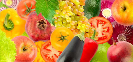 Wide background ripe and juicy fruits and vegetables.