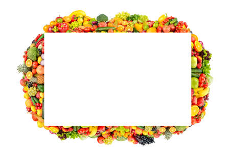 Beautiful frame healthy fruits, vegetables, berries isolated on white background