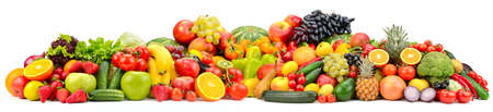 Wide collage ripe, fresh vegetables, fruits and berries isolated on white background.