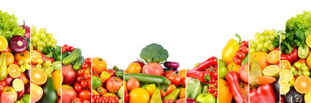 Panoramic photo of different fruits and vegetables isolated on white background