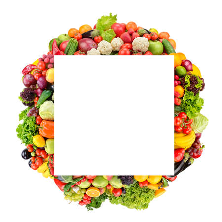 Square fruit and vegetable frame isolated on white background. Copy space