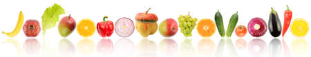 Different fruits and vegetables with reflection isolated on white background Stock Photo