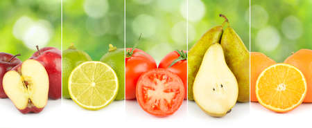 Closeup of fruits and vegetables separated by vertical lines on green blurred background.