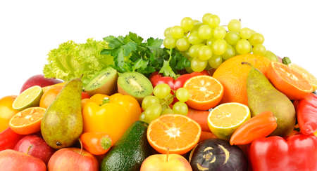Composition with healthy fruits and vegetables isolated on white background