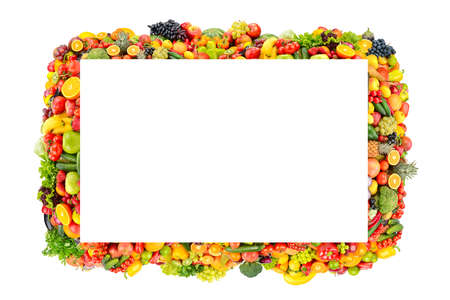 Beautiful frame fruits, vegetables, berries isolated on white background