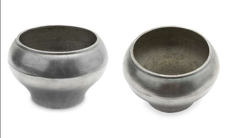 Panorama old metal pots from two foreshortenings isolated on white background.