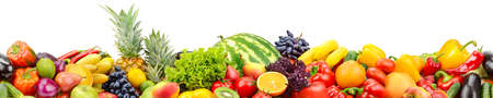 Seamless horizontal pattern fresh and juicy vegetables, fruits and berries isolated on white background.