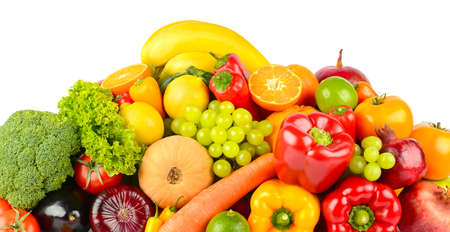 Big collection delicious wholesome fruits and vegetables isolated on white background. Stock Photo