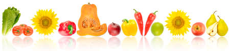 Ripe and fresh fruits and vegetables with light reflection isolated on white background.