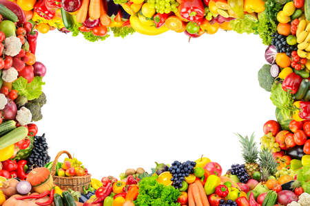 Frame of fruits and vegetables isolated on white background.