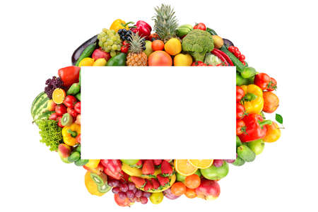 Rectangular fruit and vegetable frame isolated on white background. Copy space.