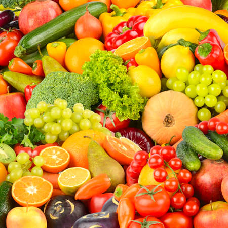 Square background made of vegetables and fruits. Food concept. Top view Stock Photo