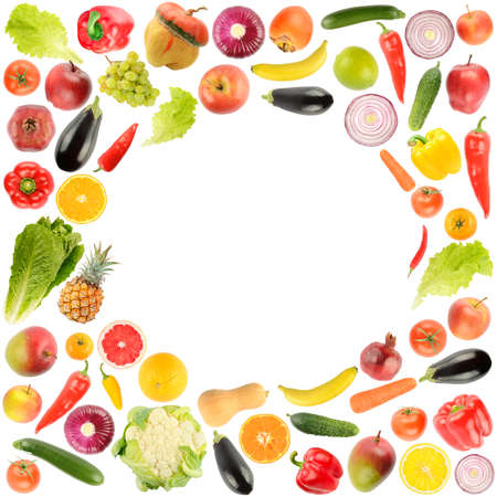 Delicious and healthy vegetables and fruits in form frame isolated on white background.