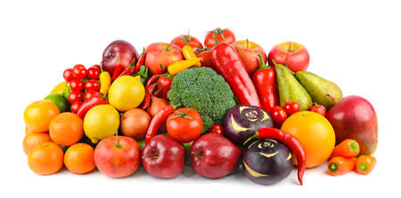 Delicious and healthy vegetables and fruits isolated on white background. Stock Photo