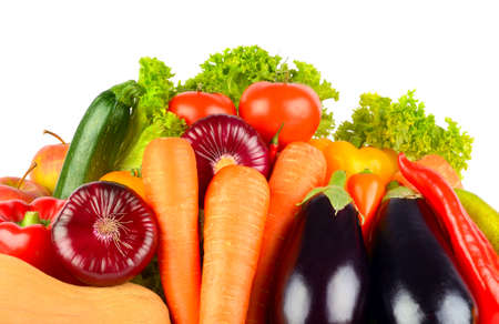 Ripe, bright vegetables and fruits isolated on white background. Copy space