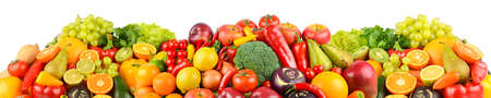 Panoramic collection of fresh fruits and vegetables isolated on white background.