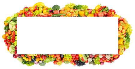Paronama frame of fruits, vegetables, berries isolated on white background