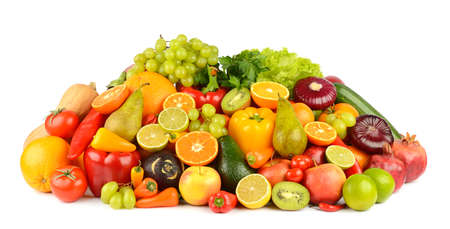 Collection of multi-colored bright fruits and vegetables isolated on white background.