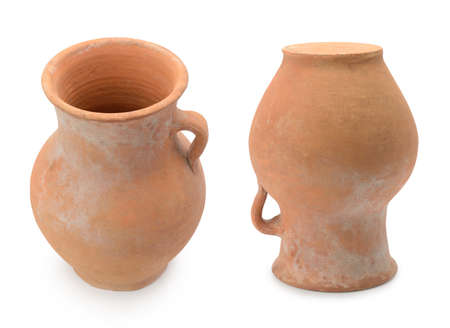 Handmade clay jugs isolated on white background.