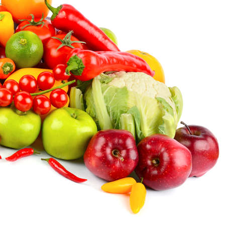 Set of fresh vegetables and fruits isolated on white background.