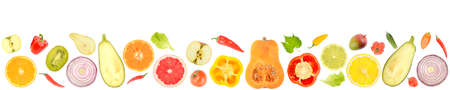 Fresh vegetables and fruits isolated on white background. Copy space for text
