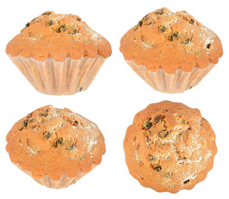 Cupcakes with raisins from different angles isolated on white background.