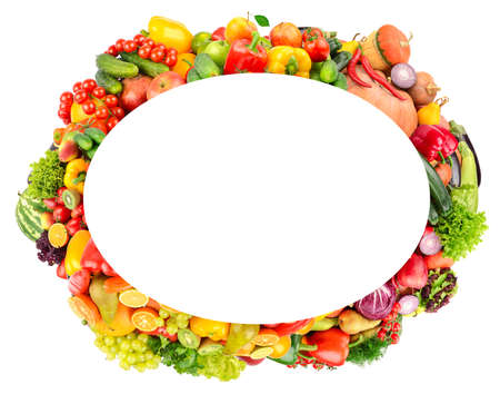 Oval frame from ripe vegetables and fruits. Copy space Stock Photo