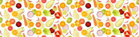 Seamless pattern of fresh fruits and vegetables isolated on white background. Stock Photo