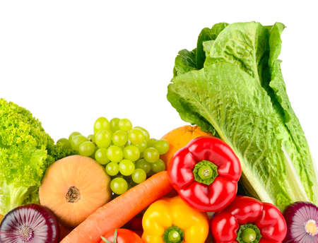 Composition of vegetables and fruits isolated on white background.