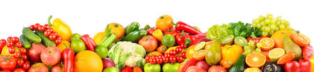 Panoramic photo fruits and vegetables isolated on white background. Free space for text.