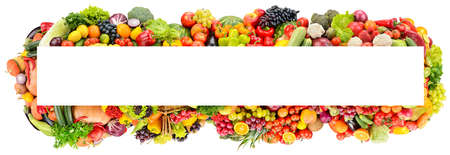 Rectangular wide frame of vegetables and fruits isolated on white background.