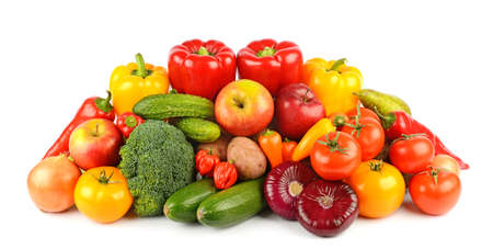 Composition of ripe and fresh vegetables and fruits isolated on white background.