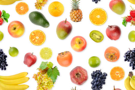 Seamless pattern of fresh vegetables and fruits useful for health isolated on white background.